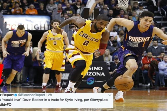 """OMG Kyrie Irving for Devin Booker?! Cavs say they would """"love"""" a trade with Devin Booker for Kyrie"""